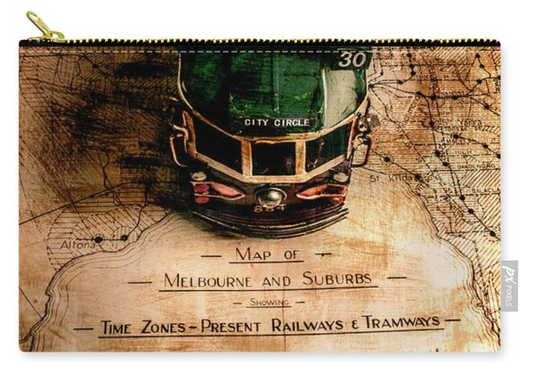 Antique Melbourne Travel Map Carry-all Pouch