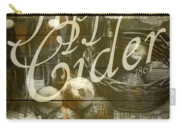 Apple Cider Sign Printed On Rustic Wood Planks Carry-all Pouch