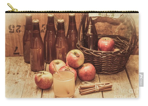 Apples Cider By Wicker Basket On Wooden Table Carry-all Pouch