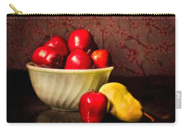 Apples In Bowl With Pear Carry-all Pouch