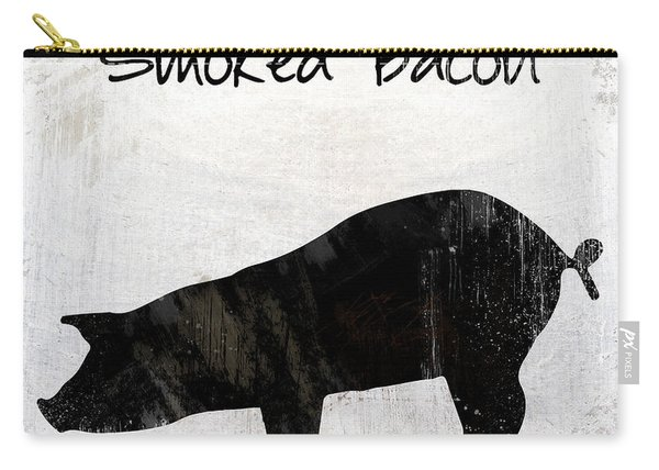 Applewood Smoked Bacon Weathered Farm Sign, Industrial Farmhouse Kitchen Art Carry-all Pouch