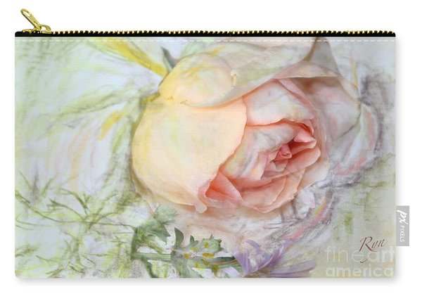 Carry-all Pouch featuring the painting Apricot Nectar Rose With Michaelmas Daisy by Ryn Shell