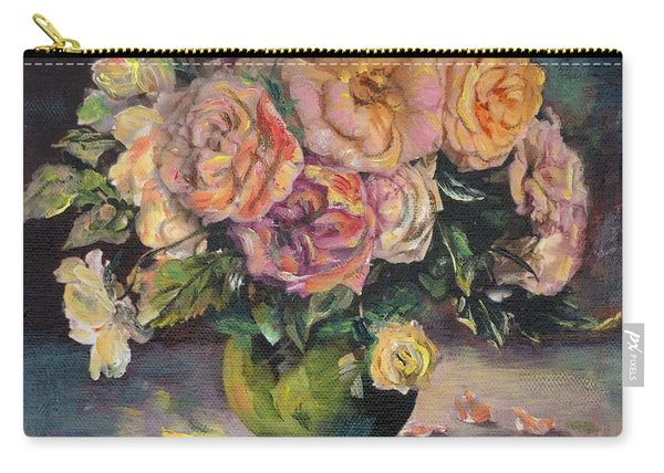 Carry-all Pouch featuring the painting Apricot Roses In Green Vase by Ryn Shell