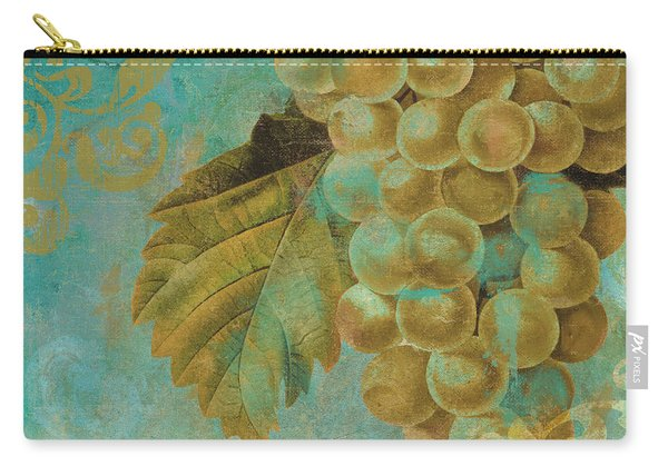 Aqua And Gold Grapes Carry-all Pouch