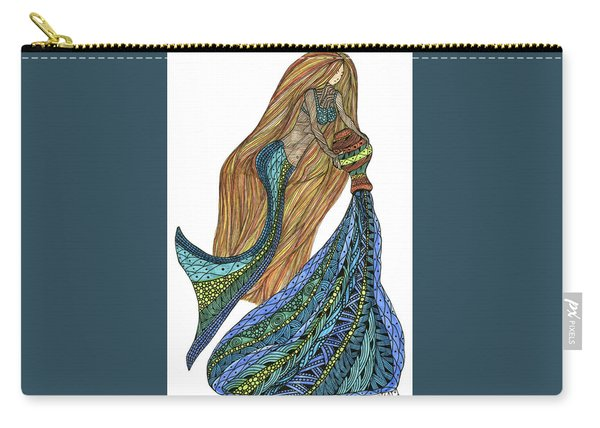 Carry-all Pouch featuring the drawing Aquarius by Barbara McConoughey