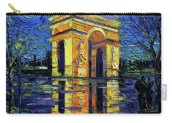 Arc De Triomphe Paris Mirroring Modern Impressionist Impasto Cityscape Oil Painting Carry-all Pouch