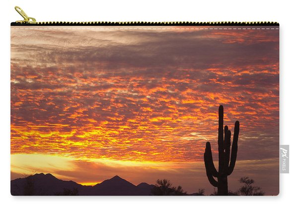 Arizona November Sunrise With Saguaro   Carry-all Pouch