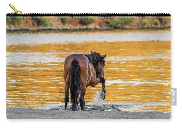 Arizona Wild Horse Playing In Water Carry-all Pouch