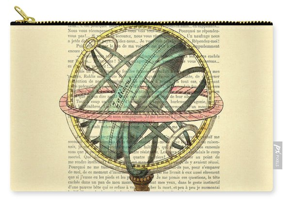 Armillary Sphere In Color Antique Illustration On Book Page Carry-all Pouch