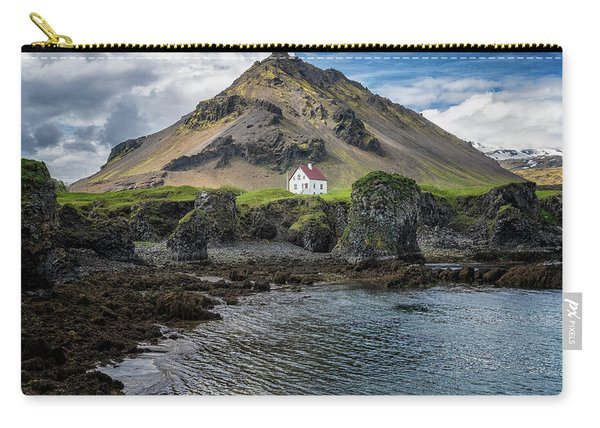 Carry-all Pouch featuring the photograph Arnarstapi House by Tom Singleton