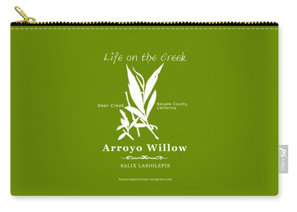 Arroyo Willow - White Text Carry-all Pouch