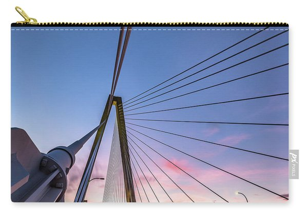Carry-all Pouch featuring the photograph Arthur Ravenel Jr. Bridge Light Trails by Donnie Whitaker