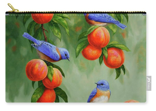 Bird Painting - Bluebirds And Peaches Carry-all Pouch