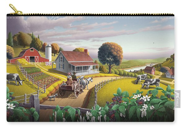 Appalachian Blackberry Patch Rustic Country Farm Folk Art Landscape - Rural Americana - Peaceful Carry-all Pouch