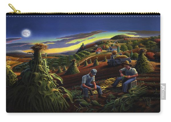 Autumn Farmers Shucking Corn Appalachian Rural Farm Country Harvesting Landscape - Harvest Folk Art Carry-all Pouch