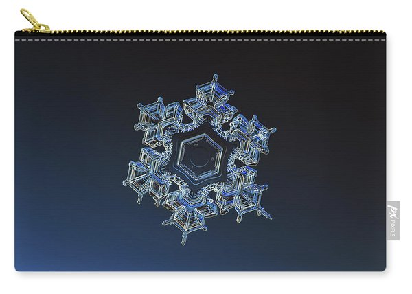 Carry-all Pouch featuring the photograph Snowflake Photo - Spark by Alexey Kljatov