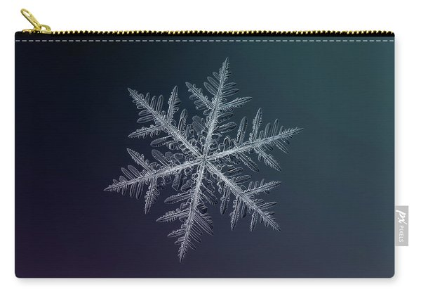 Carry-all Pouch featuring the photograph Snowflake Photo - Neon by Alexey Kljatov