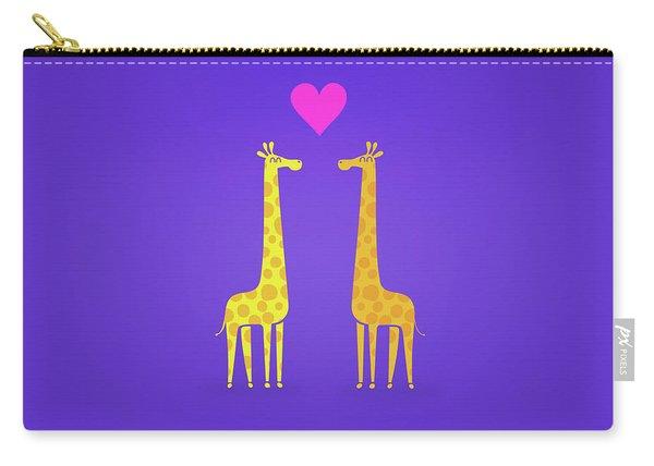 Cute Cartoon Giraffe Couple In Love Purple Edition Carry-all Pouch