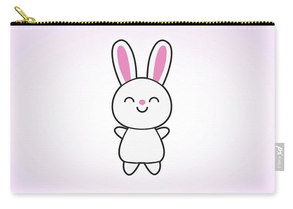 Funny Cute Rabbit Bunny In Pink Carry-all Pouch