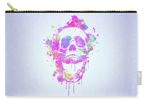 Cool And Trendy Pink Watercolor Skull Carry-all Pouch