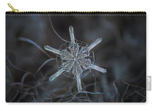 Carry-all Pouch featuring the photograph Snowflake Photo - Steering Wheel by Alexey Kljatov