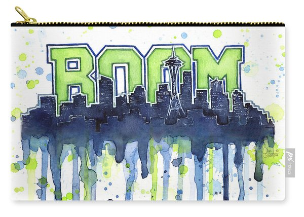 Seattle 12th Man Legion Of Boom Watercolor Carry-all Pouch