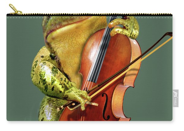 Humorous Scene Frog Playing Cello In Lily Pond Carry-all Pouch