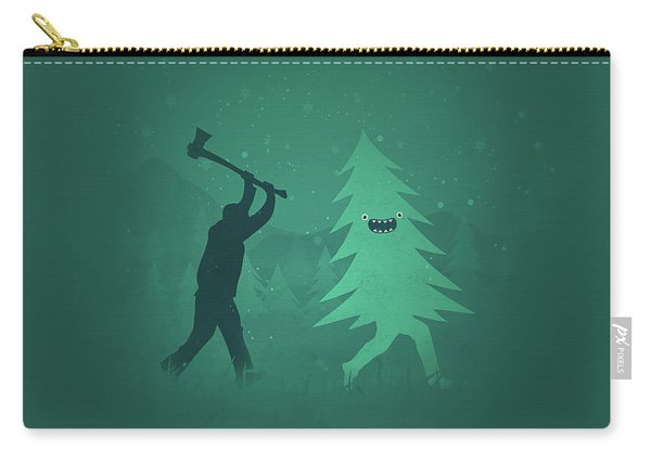 Funny Cartoon Christmas Tree Is Chased By Lumberjack Run Forrest Run Carry-all Pouch