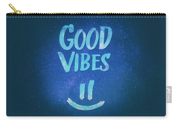 Good Vibes  Funny Smiley Statement Happy Face Blue Stars Edit Carry-all Pouch