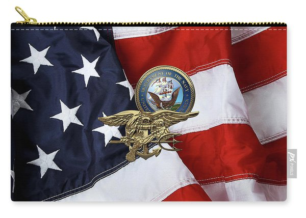 U. S. Navy S E A Ls Trident Over American Flag  Carry-all Pouch