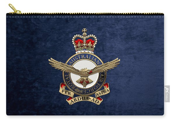 Royal Australian Air Force -  R A A F  Badge Over Blue Velvet Carry-all Pouch