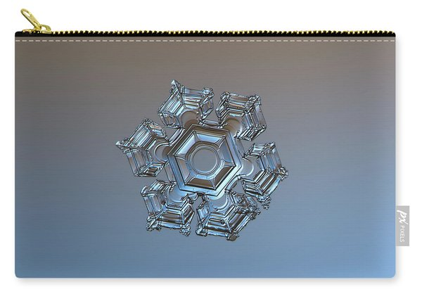Carry-all Pouch featuring the photograph Snowflake Photo - Cold Metal by Alexey Kljatov