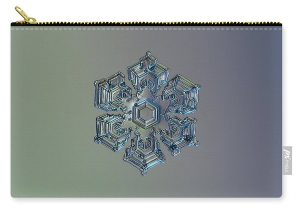 Carry-all Pouch featuring the photograph Snowflake Photo - Silver Foil by Alexey Kljatov