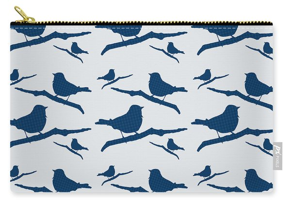 Blue Bird Silhouette Modern Bird Art Carry-all Pouch