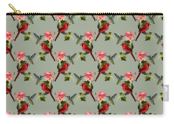 Cardinal On Ivy Branch With Hummingbird And Pink Lily Carry-all Pouch