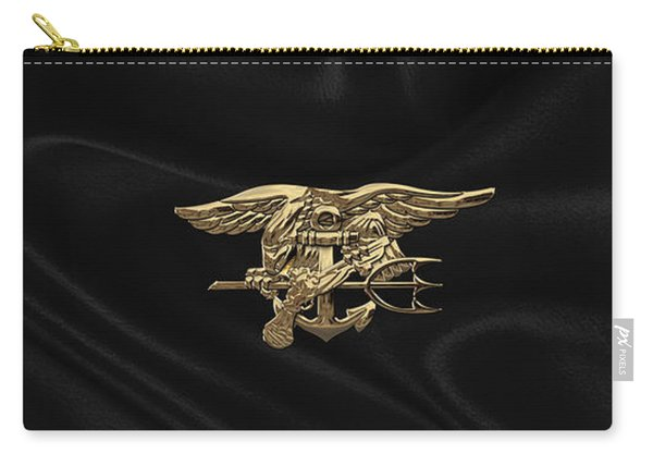 U.s. Navy Seals Trident Over Black Flag Carry-all Pouch