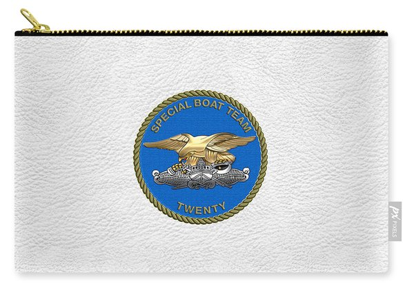U. S. Navy S W C C - Special Boat Team 20   -  S B T 20   Patch Over White Leather Carry-all Pouch
