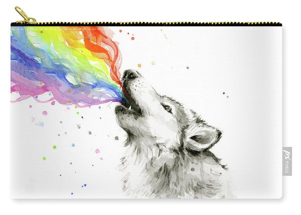 Wolf Rainbow Watercolor Carry-all Pouch