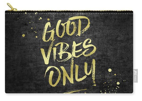 Good Vibes Only Gold Glitter Rough Black Grunge Carry-all Pouch