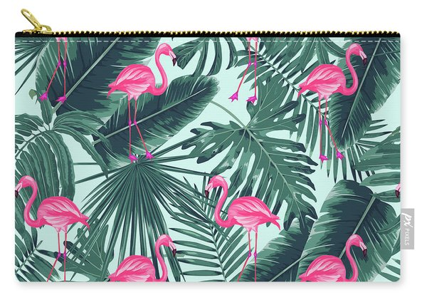 Tropical Pink Flamingo Carry-all Pouch