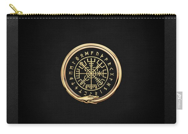 Vegvisir - A Magic Icelandic Viking Runic Compass - Gold On Black Carry-all Pouch