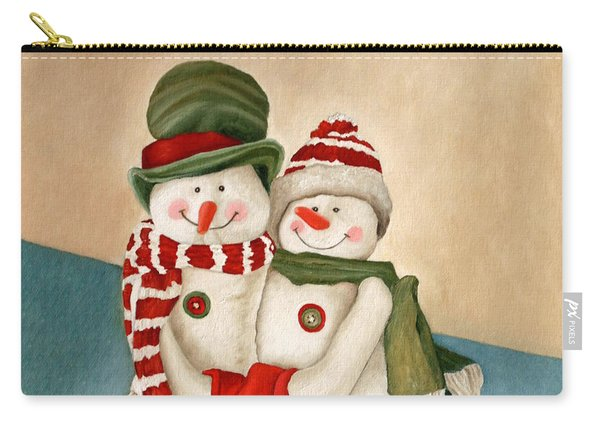 Carry-all Pouch featuring the painting Mr. And Mrs. Snowman Vintage by Angeles M Pomata