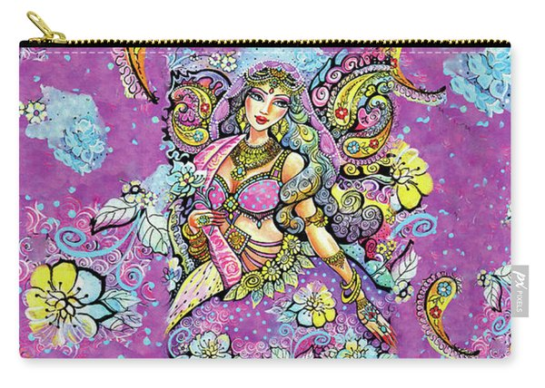 Purple Paisley Flower  Carry-all Pouch