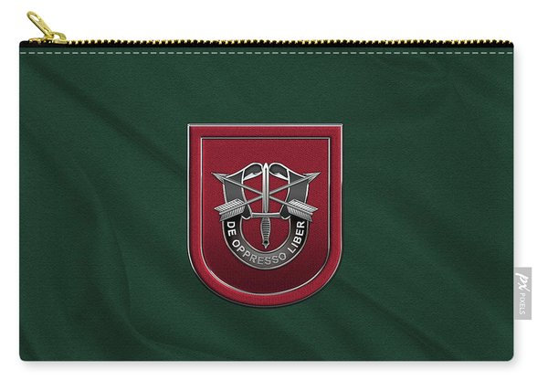 U. S.  Army 7th Special Forces Group - 7 S F G  Beret Flash Over Green Beret Felt Carry-all Pouch