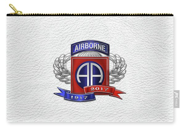 82nd Airborne Division 100th Anniversary Insignia Over White Leather Carry-all Pouch