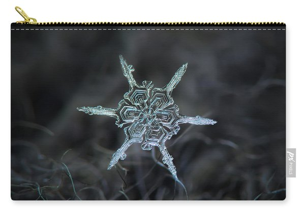 Carry-all Pouch featuring the photograph Real Snowflake Photo - The Shard by Alexey Kljatov
