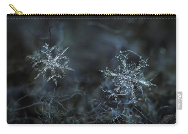 Carry-all Pouch featuring the photograph Snowflake Photo - When Winters Meets - 2 by Alexey Kljatov