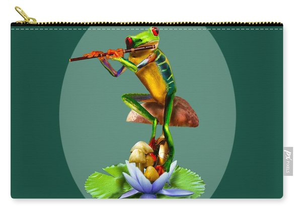 Humorous Tree Frog Playing The Flute  Carry-all Pouch
