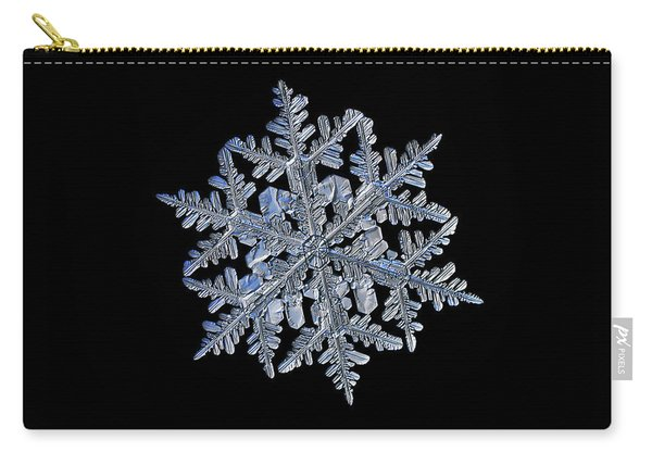 Snowflake Macro Photo - 13 February 2017 - 3 Black Carry-all Pouch