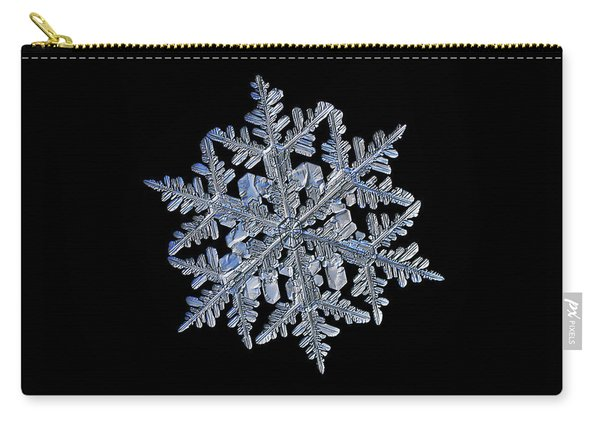 Carry-all Pouch featuring the photograph Snowflake Macro Photo - 13 February 2017 - 3 Black by Alexey Kljatov